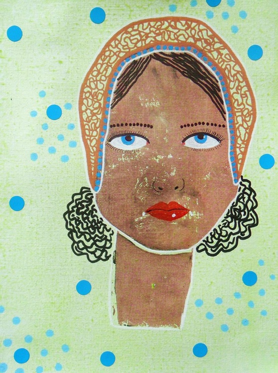 Fancy Scarf Girl With Blue Eyes - Image 0
