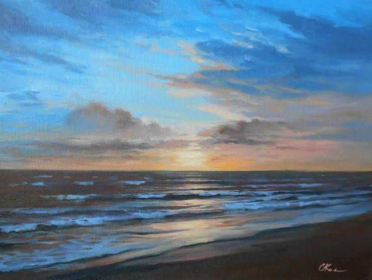 Seacoast, Original oil on canvas, Free Shipping - Image 0