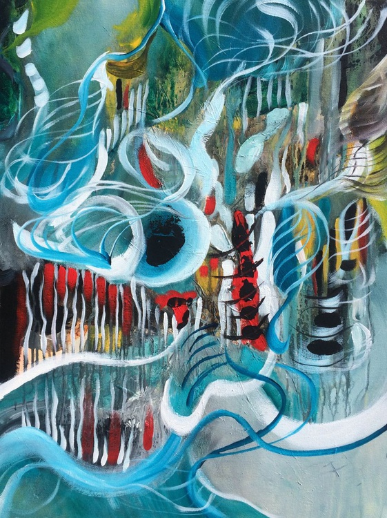 """"""" Life is a game """" ,  Abstract Acrylic Painting - 24x32 inches - Image 0"""