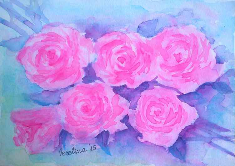 Pink roses watercolour