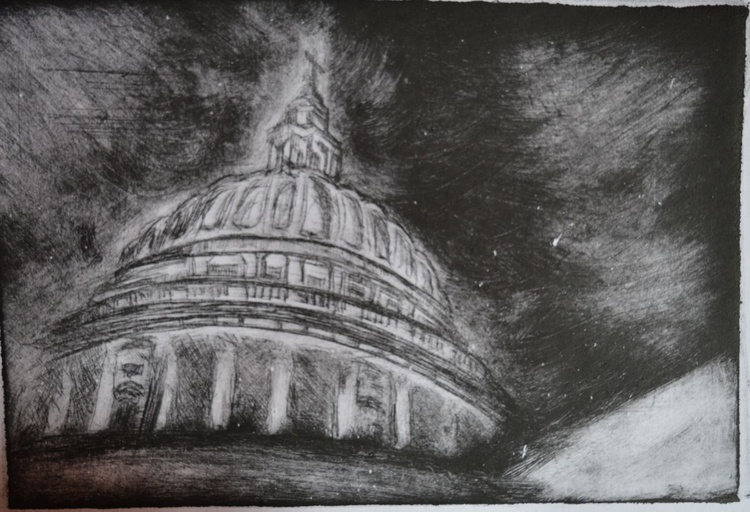 St Paul's Cathedral, London landmark, architectural print, dry point etching - Image 0
