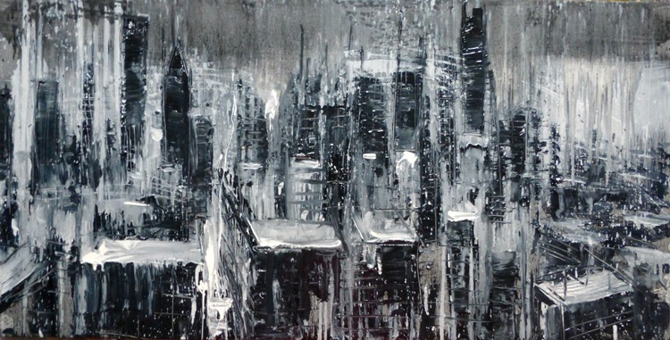 Black and white city, large oil painting 120x60 cm - Image 0