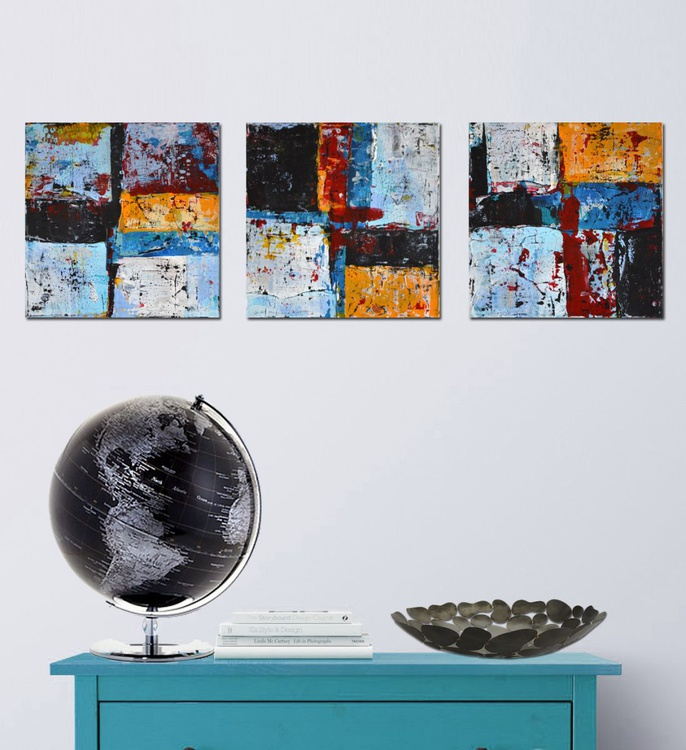 "Triptych "" Geometric abstracts""-  Deep Edge Canvases - Image 0"