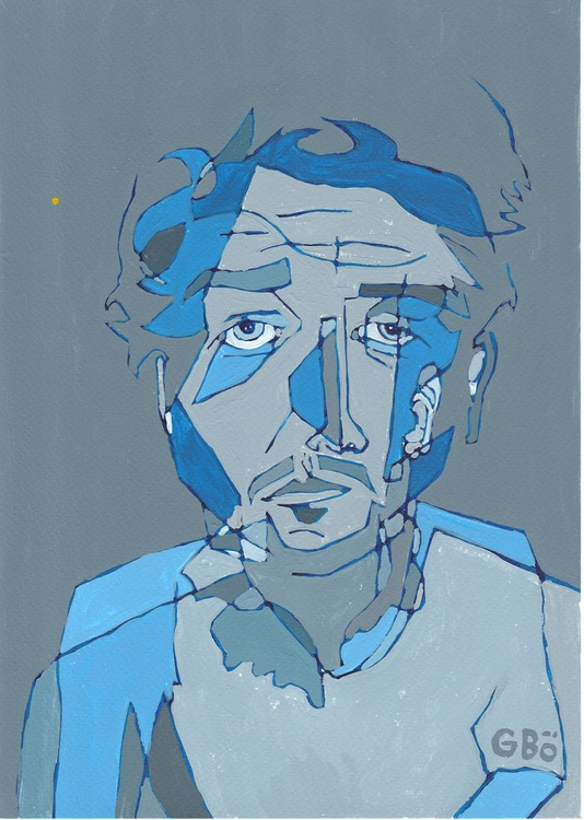 Blue Portrait With Yellow Dot - Image 0