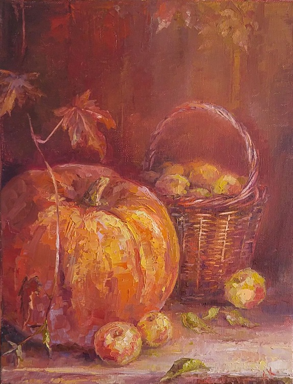 Still life with pumpkin and apples - Image 0