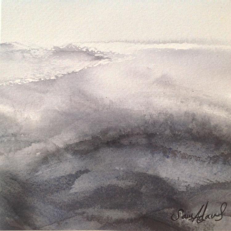 Waves - Monochrome watercolour - Image 0
