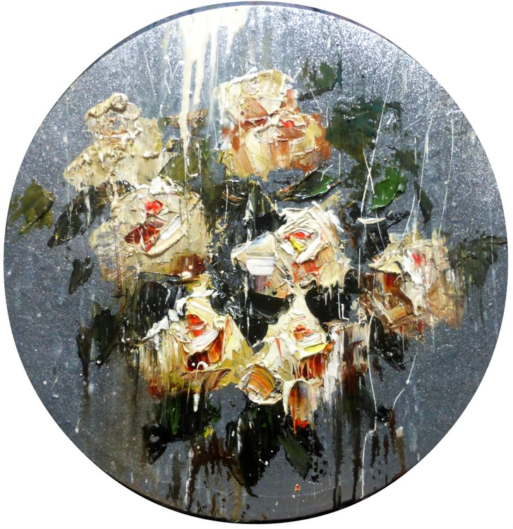 White Roses, oil painting, round canvas 40x40 cm - Image 0