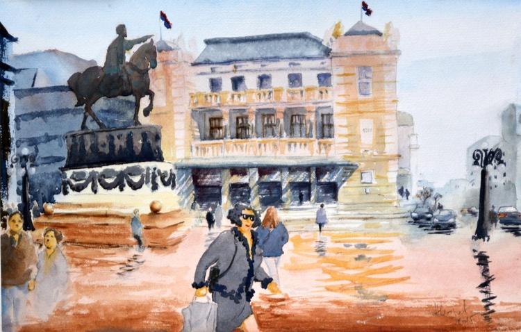 Before theater, Belgrade - original city scape watercolor art paintings by Nenad Kojić - Image 0