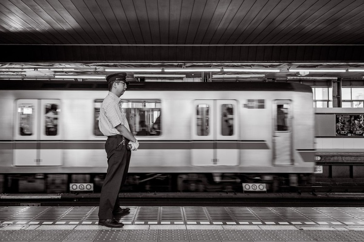 Station attendant, from the Japan Notebook. 10 X 8 Frame - Image 0