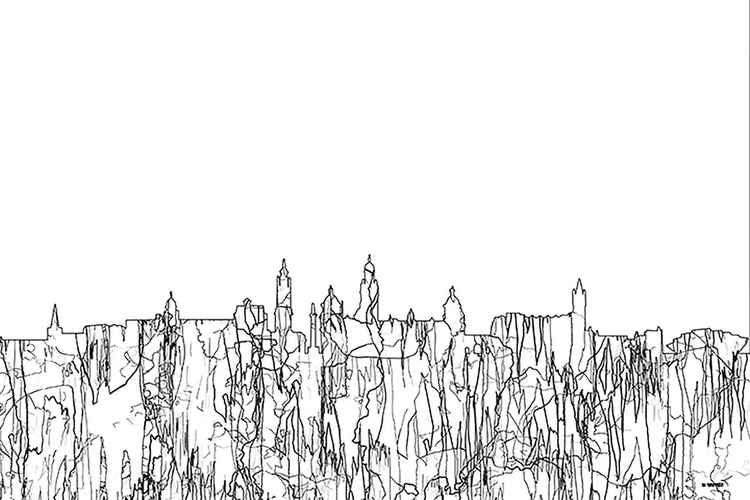 Glasgow, Scotland, UK Skyline - BW - Thin Line -