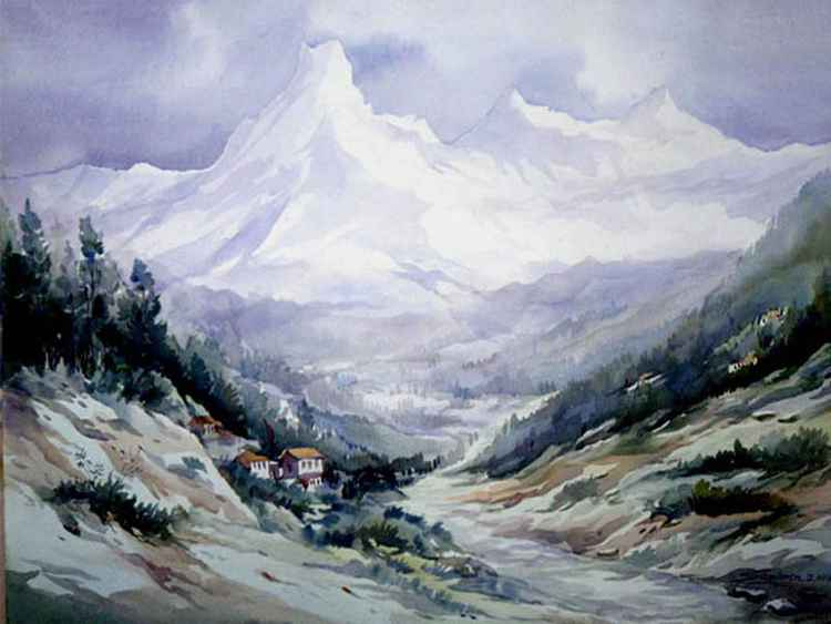 Beauty of Himalaya Peaks - Watercolor on Paper