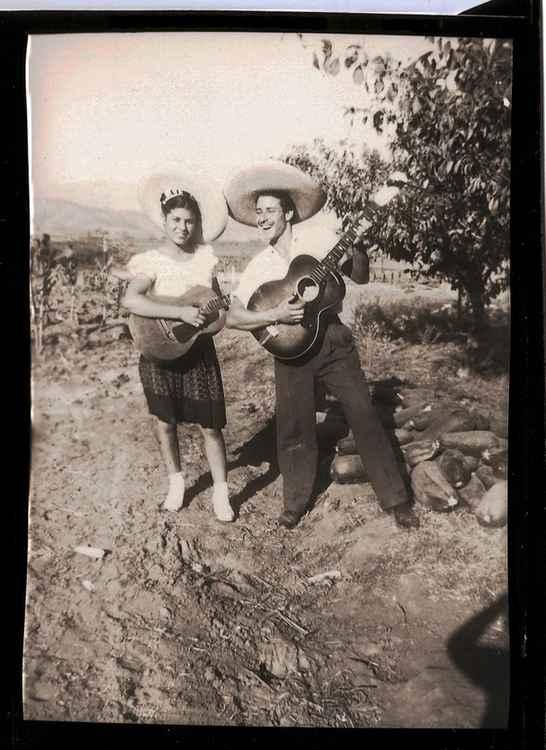 Crucita y Lupe con Guitarras, c. 1948 • Herminio Lopez, Foto Estudio Viena, Jalisco, Mexico • Silver Rag Print