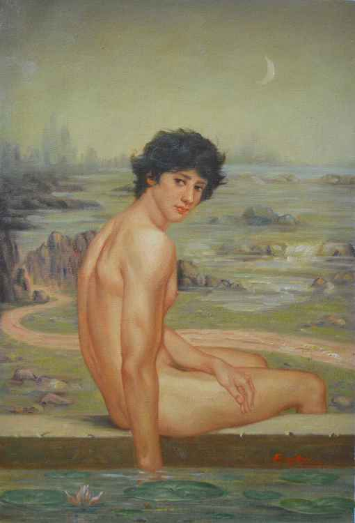 ORIGINAL OIL PAINTING ART MALE NUDE GAY MEN  LOTUS ON CANVAS #11-10-01 -
