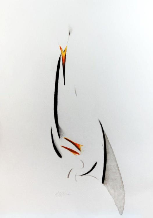 Egret mother and offspring in Ink - Image 0