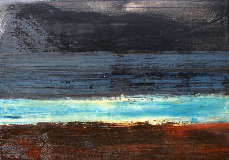 Grey Blue Umber Seascape - Image 0