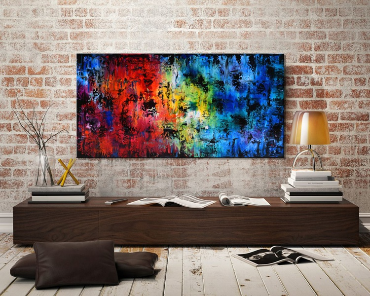 "SEASONS #4-48"" Large Abstract Painting, Original Large Colorful Modern Acrylic Palette Knife Painting on Canvas, red art, purple art, blue art - Image 0"