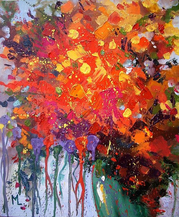 """ AUTUMN FLOWERS ""  ABSTRACT original OIL painting palette knife GIFT MODERN URBAN ART OFFICE ART DECOR HOME DECOR GIFT IDEA - Image 0"