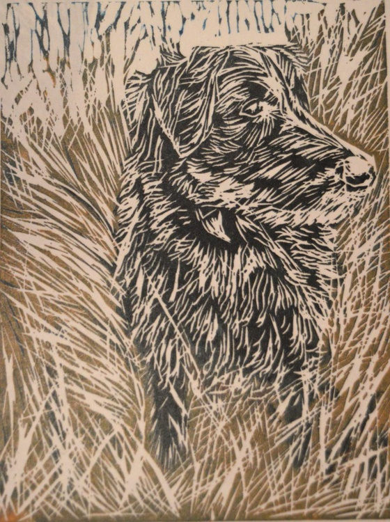 "Dog walks: ""Peek-a-boo with Taylor"", Handmade Linocut - Image 0"