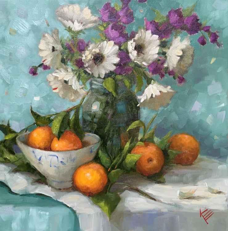 Daisies & Oranges Still Life -