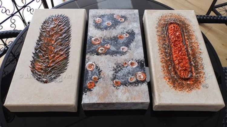Three 6(w) x 12(h) inch - Lava Flame Raw Fire Opal & Lava Bubbles Rocks and Pools & Lava Crystal Raw Geode - Image 0