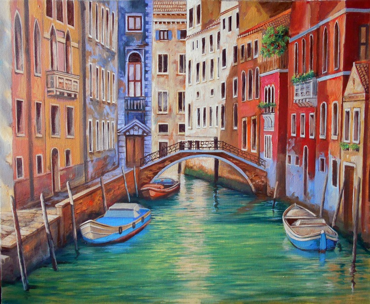 The fabulous water of Venice, Original oil on canvas, Free Shipping - Image 0