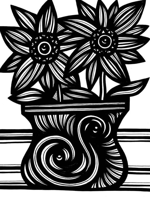 Swirl Two Flowers Original Drawing