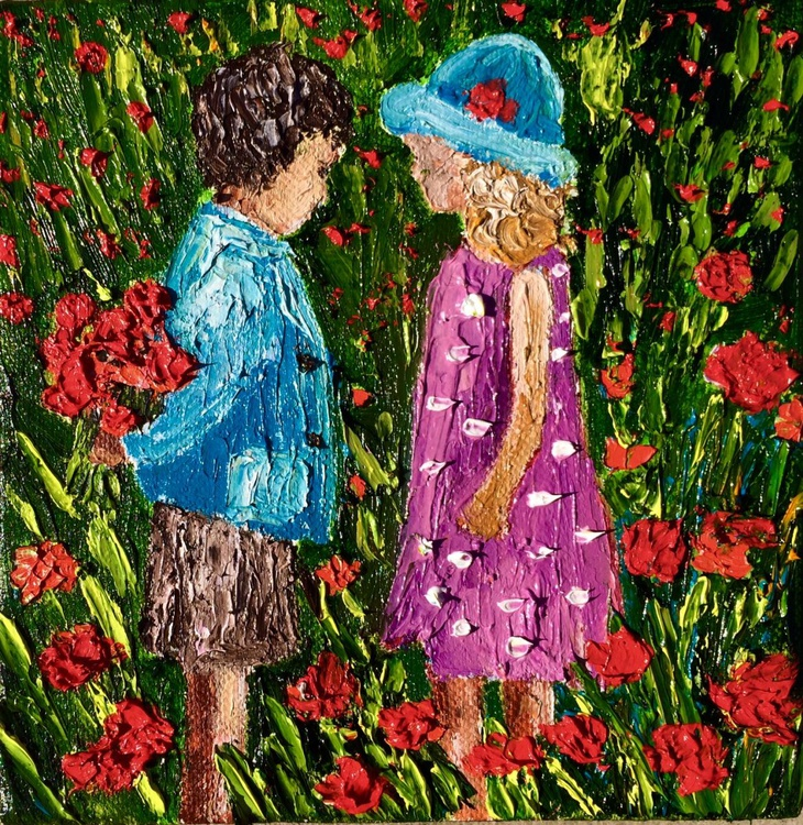 Boy and a girl on the flowers field - Image 0