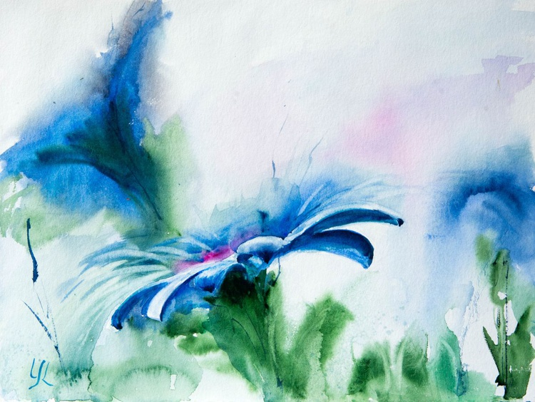 """""""Blue delight"""", original watercolour painting, 15.7""""x 11.8""""(40x30cm), ready to hang - Image 0"""