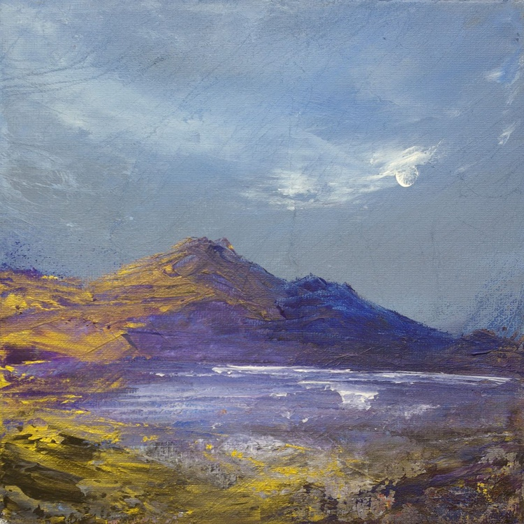 Golden Moonlight Bay, seascape painting - Image 0