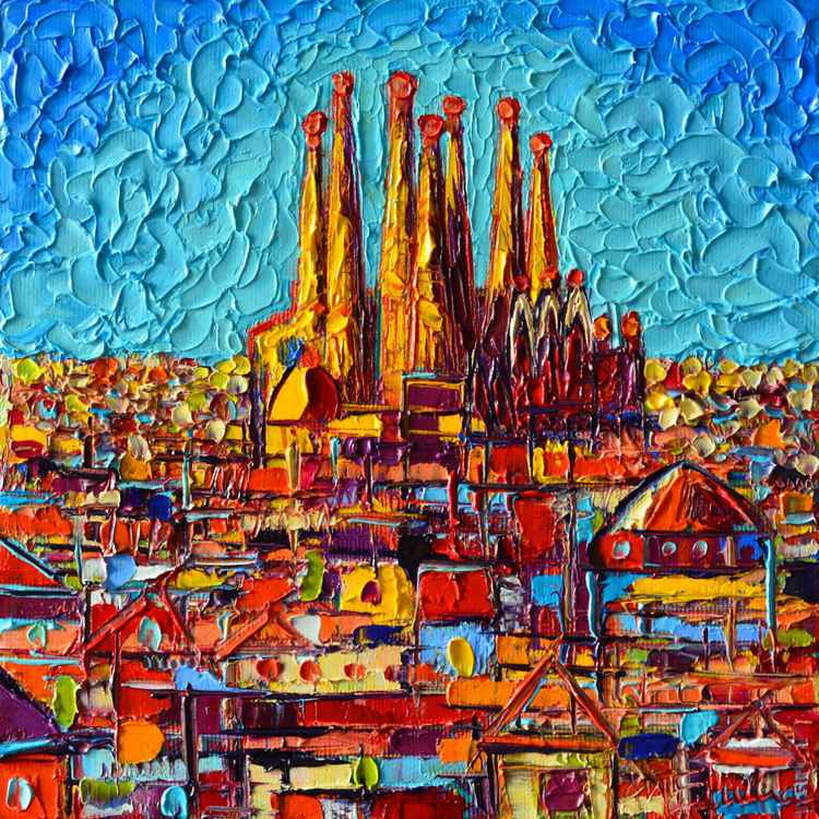BARCELONA ABSTRACT CITYSCAPE - SAGRADA FAMILIA