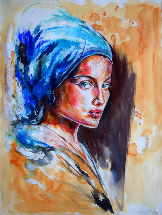 The Girl with the Blue Scarf 65 cm x 50 cm - Image 0