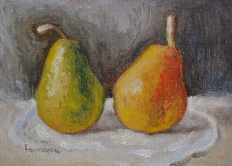 Two Pears Still Life Oil Painting Kitchen Food Painting - Image 0