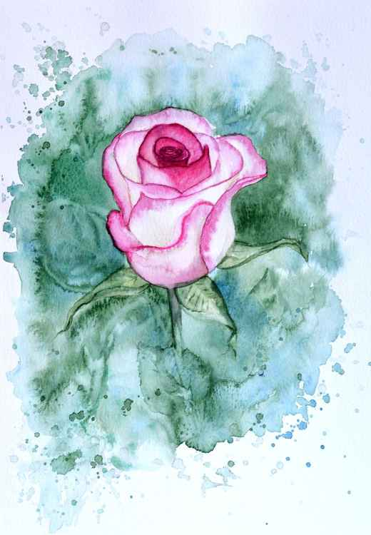 Original watercolor painting Rose -