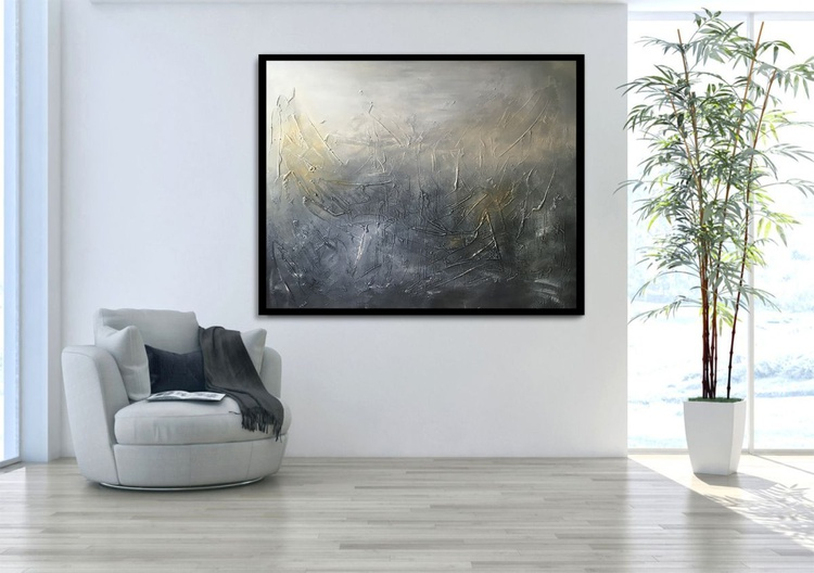 Short Night Large Textured abstract painting - Image 0