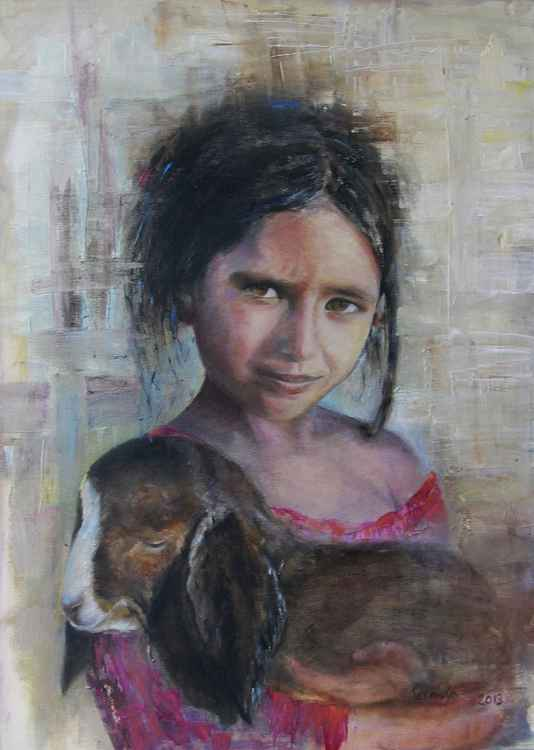 The girl with lamb -