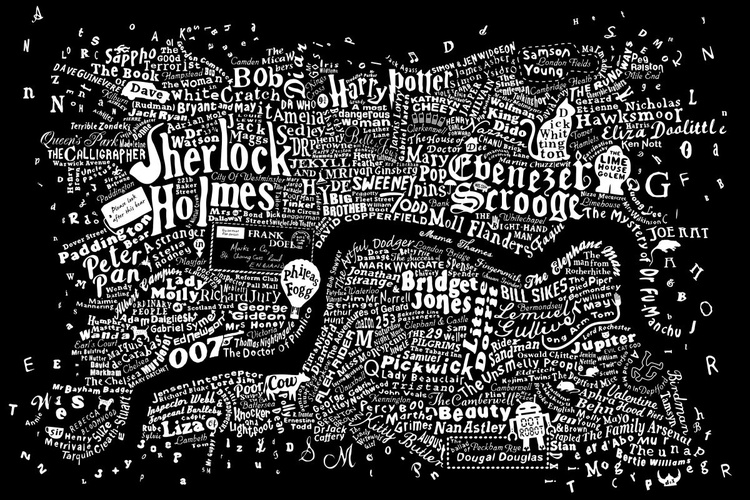LITERARY CENTRAL LONDON MAP (black) - Image 0