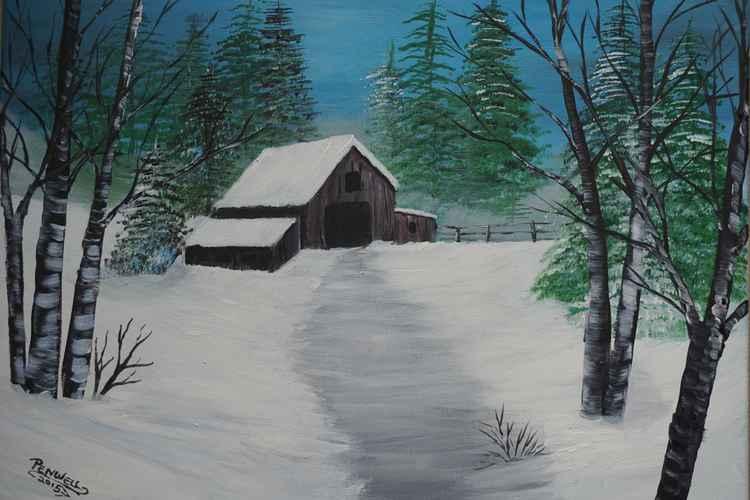 old barn in winter -