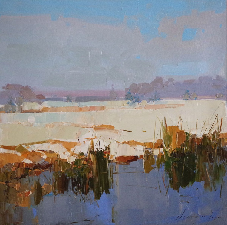 Landscape Oil painting, Winter, RiverSide, One of a kind, Signed with Certificate of Authenticity - Image 0