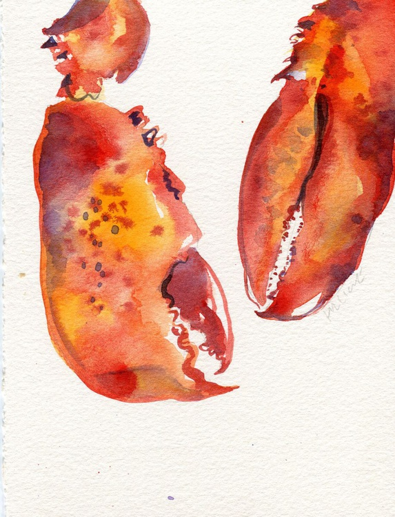 Original Watercolour Painting of Lobster Claws - Image 0