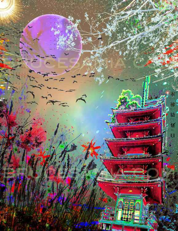16. green collage w pagoda © 15.5x20 (2014)  ed.50