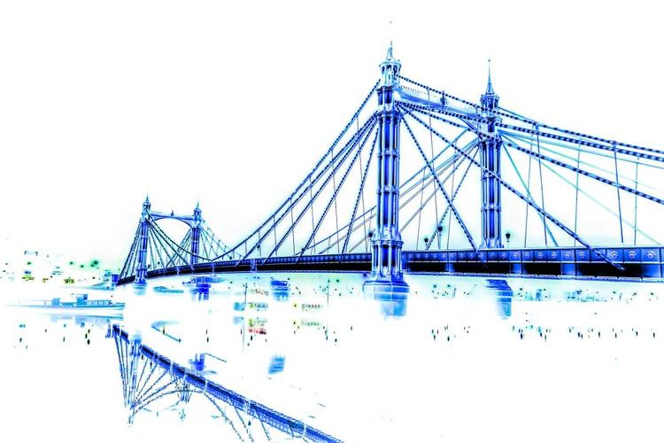 "Albert bridge BLUE PRINT  (Limited edition  1/150) 12""X8"" - Image 0"