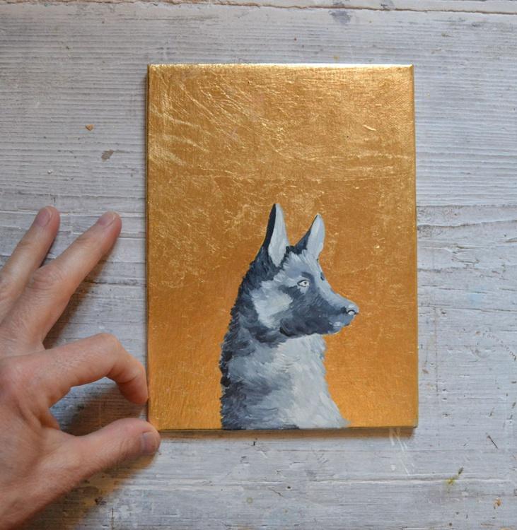 German Shepard Golden Portrait Painting Dog Painting - Image 0