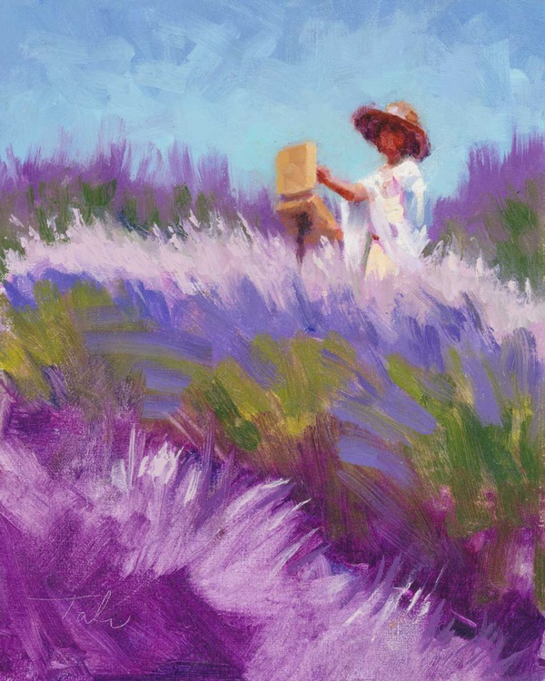 Her Muse - woman in white painting lavender - Image 0