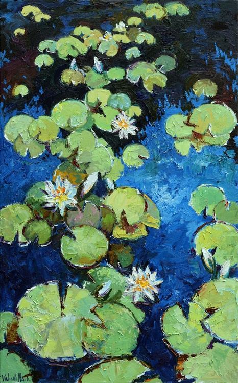 Water lilies with white flowers Original Oil painting - Image 0