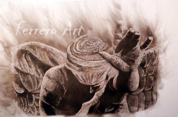 La bendición (pintura al fumage) - Image 0