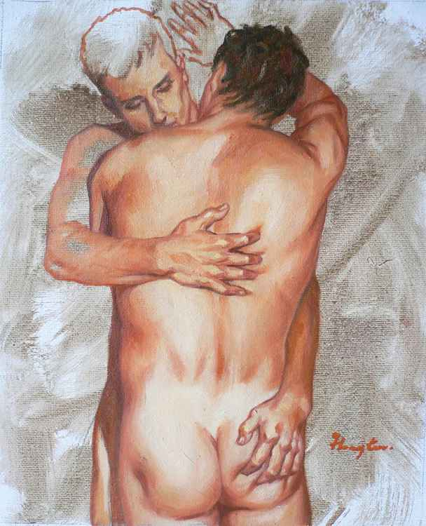 Original art Oil paintingl art male nude gay men  on linen  #16-5-1-04 -