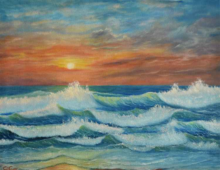 Emerald Green Sea Waves at Sunset - Seascape -