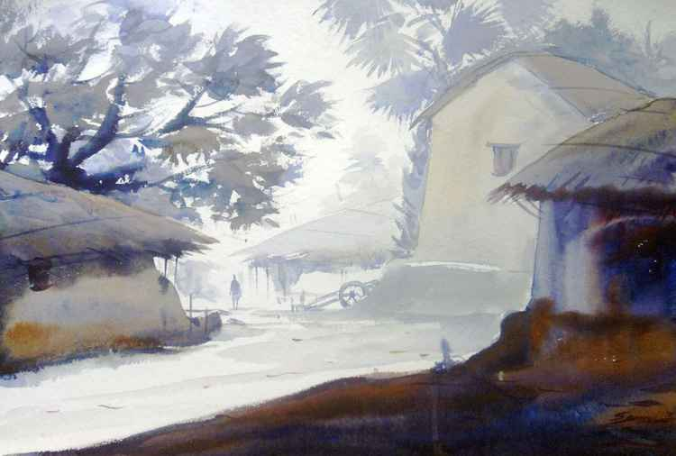 Early Morning Village - Watercolor Painting -