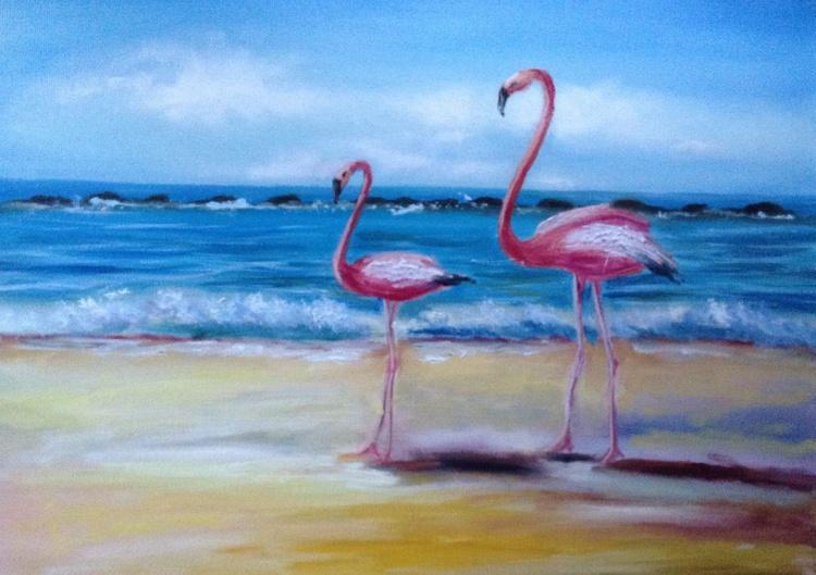 Two flamingos - Image 0