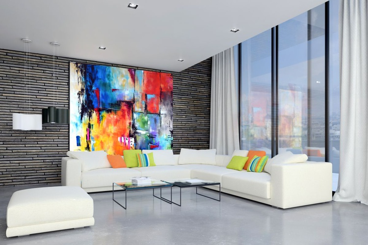 """70""""x70"""" CROSSING PATHS - Extra Large Painting On Canvas, abstract art, abstract canvas art, colorful art, oversize modern painting - Image 0"""